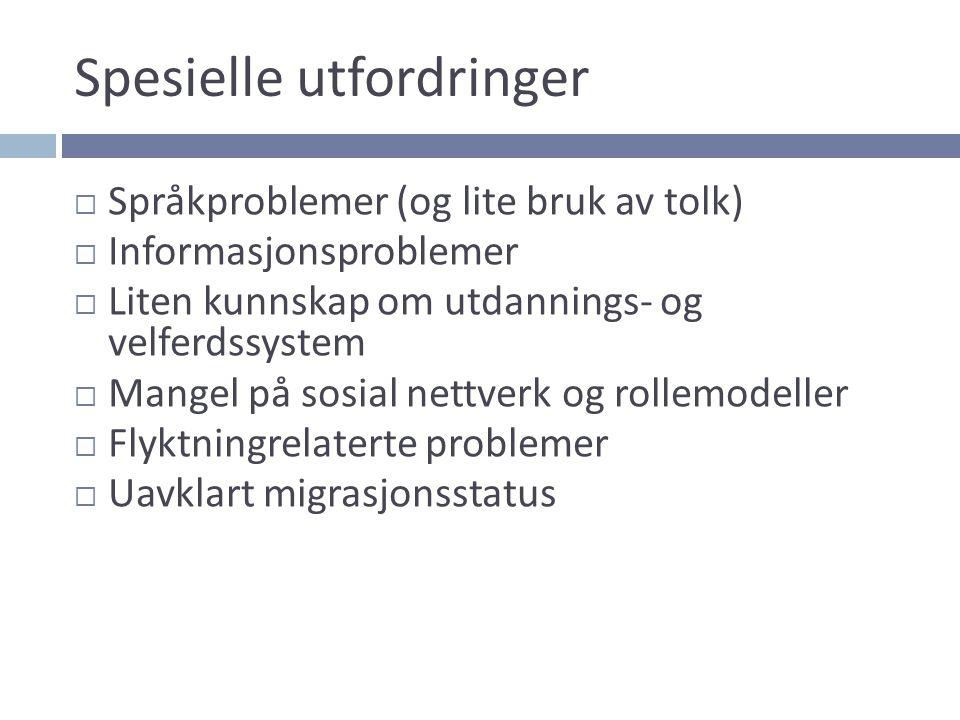 Spesielle utfordringer  Språkproblemer (og lite bruk av tolk)  Informasjonsproblemer  Liten kunnskap om utdannings- og velferdssystem  Mangel på s