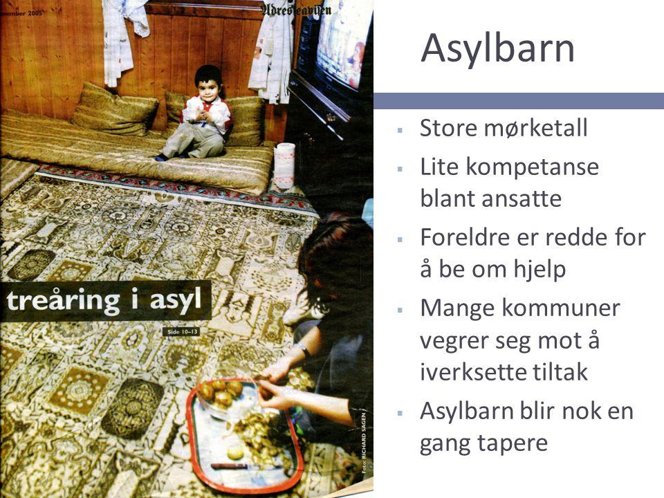 Asylbarn  Store mørketall  Lite kompetanse blant ansatte  Foreldre er redde for å be om hjelp  Mange kommuner vegrer seg mot å iverksette tiltak 