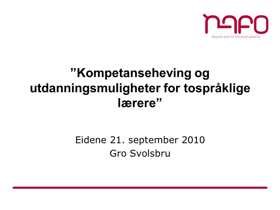 Tilbys ved: Høgskolen i Oslo http://www.hio.no/Studietilbud/Bachelorstudie r/Bachelorstudium-faglaererutdanning-for- tospraaklige-laerere http://www.hio.no/Studietilbud/Bachelorstudie r/Bachelorstudium-faglaererutdanning-for- tospraaklige-laerere Høgskolen i Hedmark http://www.hihm.no/content/view/full/13310 Universitetet i Agder http://www.uia.no/no/portaler/studietilbud/st udier/faglaererutdanning_for_tospraaklige_lae rere http://www.uia.no/no/portaler/studietilbud/st udier/faglaererutdanning_for_tospraaklige_lae rere Høgskolen i Bergen http://www.hib.no/studier/studie.asp?studieID =V30PED2M http://www.hib.no/studier/studie.asp?studieID =V30PED2M Høgskolen i Vestfold.