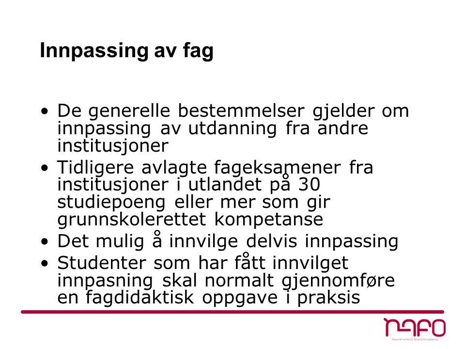 Praksis 12 uker veiledet praksis jevnt fordelt gjennom studiet, ikke på egen skole Arbeidsområdene i praksis skal sammen med fagkunnskap og didaktikk knyttet til studiefagene være med å bevisstgjøre studentene på arbeidet som tospråklige lærere i den norske grunnskolen.