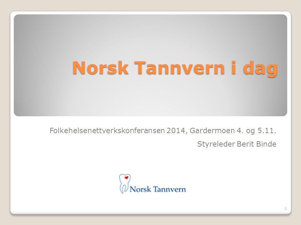 Norsk Tannvern i dag Folkehelsenettverkskonferansen 2014, Gardermoen 4. og 5.11. Styreleder Berit Binde 1
