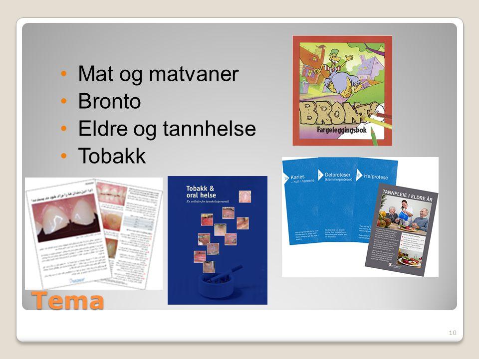 Tema Mat og matvaner Bronto Eldre og tannhelse Tobakk 10