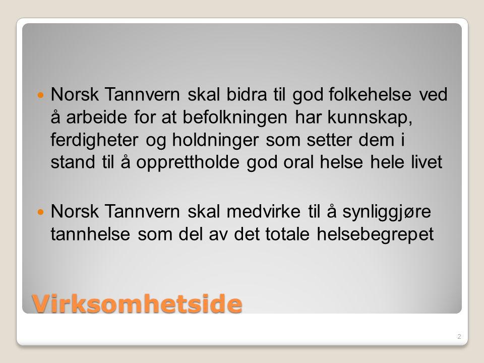 Virksomhetside Norsk Tannvern skal bidra til god folkehelse ved å arbeide for at befolkningen har kunnskap, ferdigheter og holdninger som setter dem i stand til å opprettholde god oral helse hele livet Norsk Tannvern skal medvirke til å synliggjøre tannhelse som del av det totale helsebegrepet 2