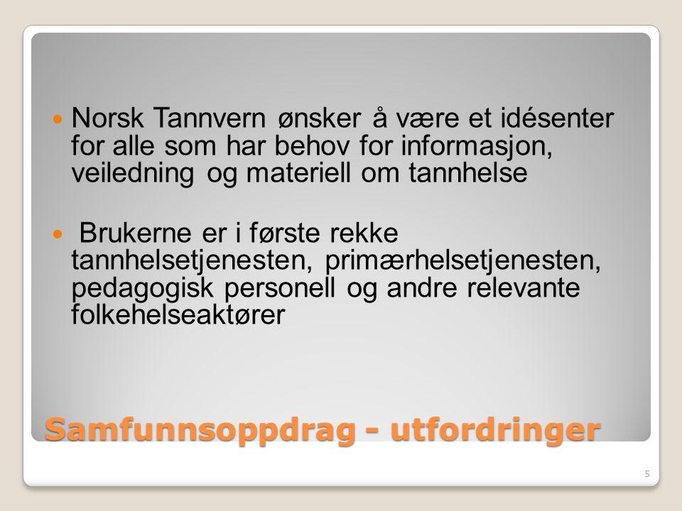 Samfunnsoppdrag - utfordringer Norsk Tannvern ønsker å være et idésenter for alle som har behov for informasjon, veiledning og materiell om tannhelse Brukerne er i første rekke tannhelsetjenesten, primærhelsetjenesten, pedagogisk personell og andre relevante folkehelseaktører 5