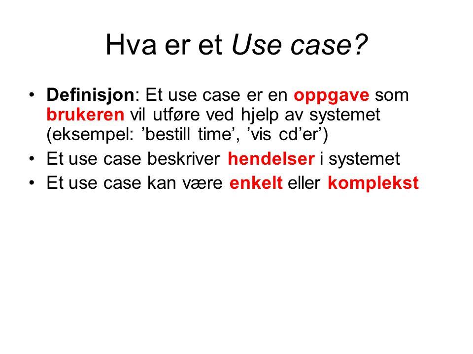 Hva er et Use case? Definisjon: Et use case er en oppgave som brukeren vil utføre ved hjelp av systemet (eksempel: 'bestill time', 'vis cd'er') Et use