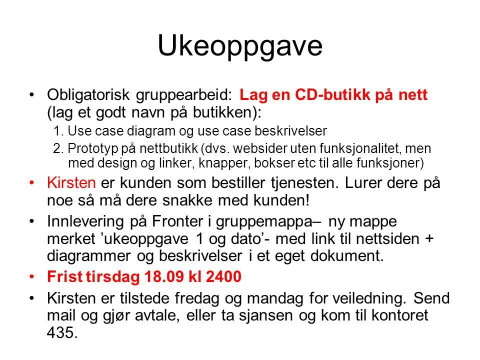 Ukeoppgave Obligatorisk gruppearbeid: Lag en CD-butikk på nett (lag et godt navn på butikken): 1. Use case diagram og use case beskrivelser 2. Prototy