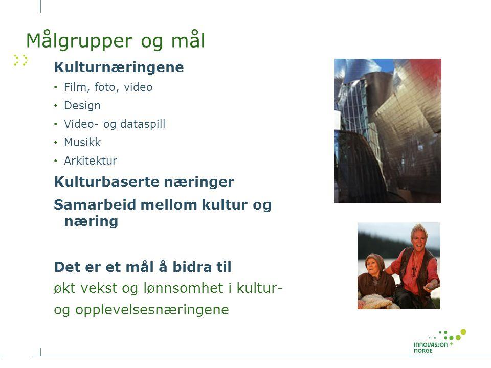 Målgrupper og mål Kulturnæringene Film, foto, video Design Video- og dataspill Musikk Arkitektur Kulturbaserte næringer Samarbeid mellom kultur og næring Det er et mål å bidra til økt vekst og lønnsomhet i kultur- og opplevelsesnæringene