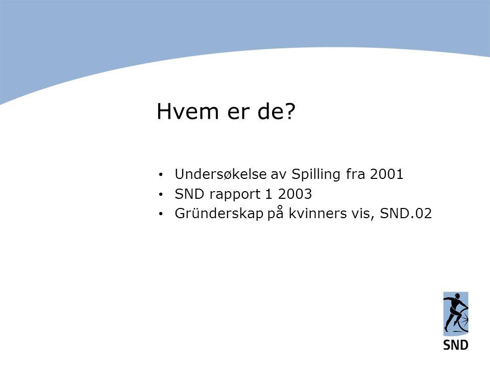 Hvem er de?  Undersøkelse av Spilling fra 2001  SND rapport 1 2003  Gründerskap på kvinners vis, SND.02