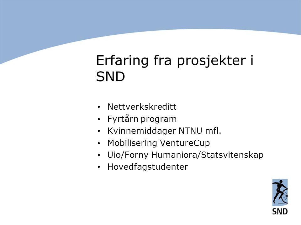 Erfaring fra prosjekter i SND  Nettverkskreditt  Fyrtårn program  Kvinnemiddager NTNU mfl.  Mobilisering VentureCup  Uio/Forny Humaniora/Statsvit