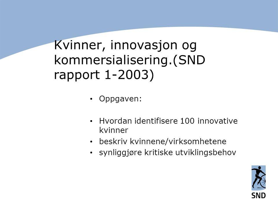 Kvinner, innovasjon og kommersialisering.(SND rapport 1-2003)  Oppgaven:  Hvordan identifisere 100 innovative kvinner  beskriv kvinnene/virksomhetene  synliggjøre kritiske utviklingsbehov