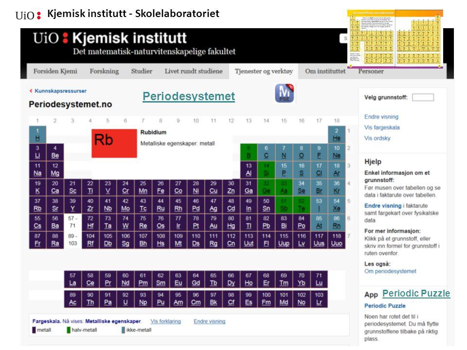 Kjemisk institutt - Skolelaboratoriet 04.09.2014Brit Skaugrud - Skolelab-kjemi Periodic Puzzle Periodesystemet