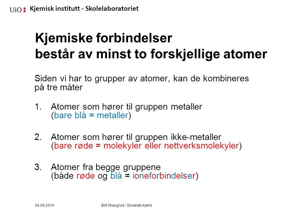Kjemisk institutt - Skolelaboratoriet Kjemiske forbindelser består av minst to forskjellige atomer Siden vi har to grupper av atomer, kan de kombineres på tre måter 1.Atomer som hører til gruppen metaller (bare blå = metaller) 2.Atomer som hører til gruppen ikke-metaller (bare røde = molekyler eller nettverksmolekyler) 3.Atomer fra begge gruppene (både røde og blå = ioneforbindelser) 04.09.2014Brit Skaugrud - Skolelab-kjemi