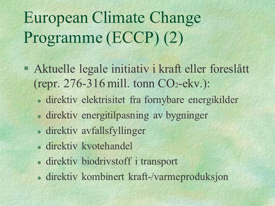European Climate Change Programme (ECCP) (2) §Aktuelle legale initiativ i kraft eller foreslått (repr. 276-316 mill. tonn CO 2 -ekv.): l direktiv elek