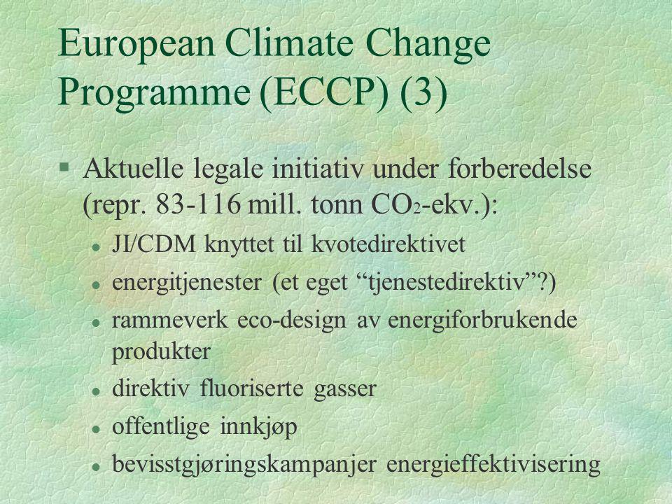 European Climate Change Programme (ECCP) (3) §Aktuelle legale initiativ under forberedelse (repr. 83-116 mill. tonn CO 2 -ekv.): l JI/CDM knyttet til