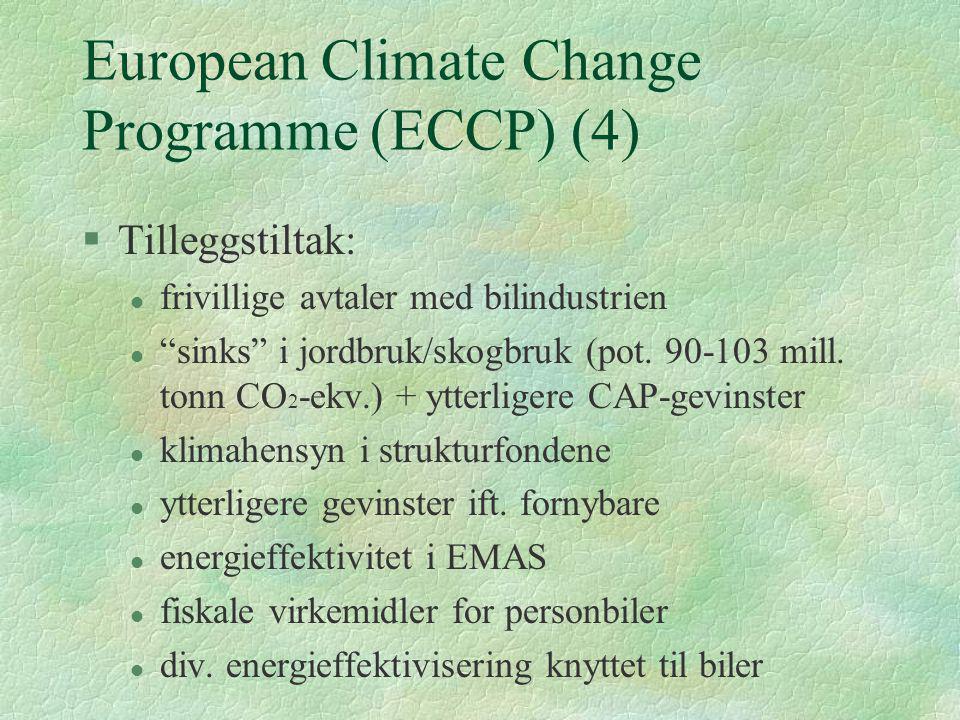 """European Climate Change Programme (ECCP) (4) §Tilleggstiltak: l frivillige avtaler med bilindustrien l """"sinks"""" i jordbruk/skogbruk (pot. 90-103 mill."""