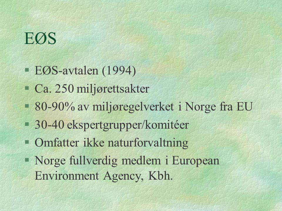 EØS §EØS-avtalen (1994) §Ca. 250 miljørettsakter §80-90% av miljøregelverket i Norge fra EU §30-40 ekspertgrupper/komitéer §Omfatter ikke naturforvalt