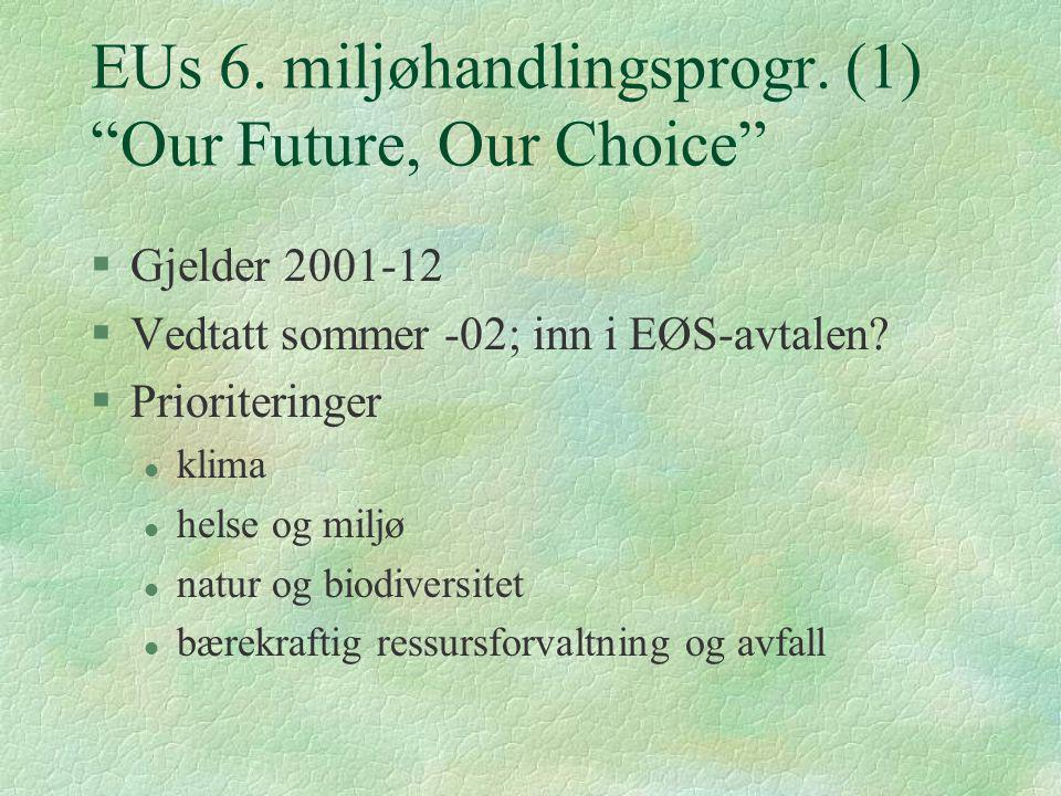 """EUs 6. miljøhandlingsprogr. (1) """"Our Future, Our Choice"""" §Gjelder 2001-12 §Vedtatt sommer -02; inn i EØS-avtalen? §Prioriteringer l klima l helse og m"""