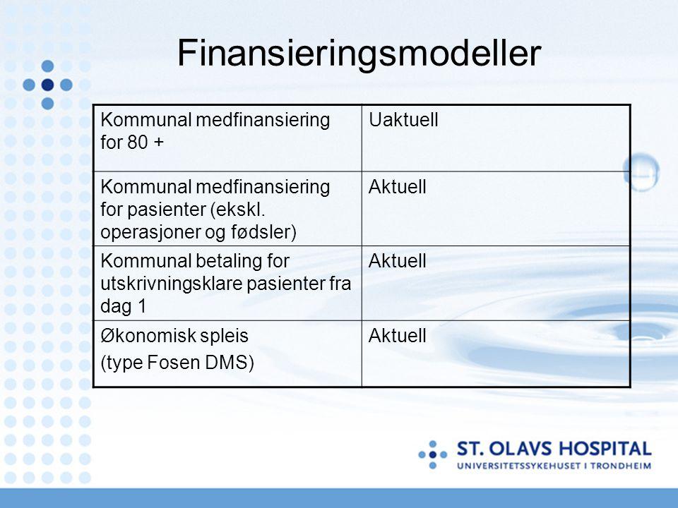 Finansieringsmodeller Kommunal medfinansiering for 80 + Uaktuell Kommunal medfinansiering for pasienter (ekskl. operasjoner og fødsler) Aktuell Kommun