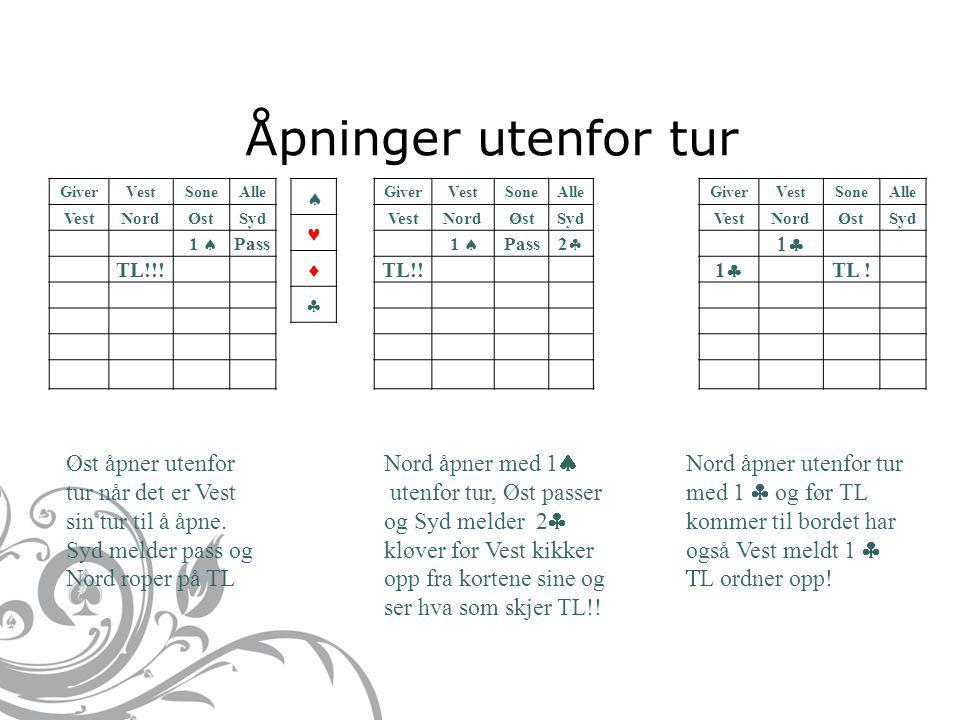 Åpninger utenfor tur GiverVestSoneAlle VestNordØstSyd 1  Pass TL!!.