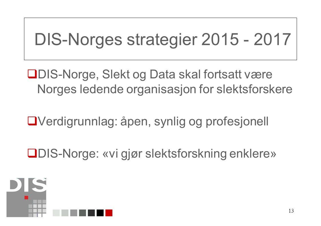 13 DIS-Norges strategier 2015 - 2017  DIS-Norge, Slekt og Data skal fortsatt være Norges ledende organisasjon for slektsforskere  Verdigrunnlag: åpen, synlig og profesjonell  DIS-Norge: «vi gjør slektsforskning enklere»
