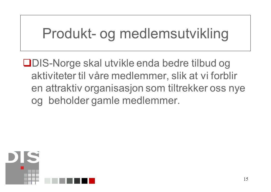 15 Produkt- og medlemsutvikling  DIS-Norge skal utvikle enda bedre tilbud og aktiviteter til våre medlemmer, slik at vi forblir en attraktiv organisasjon som tiltrekker oss nye og beholder gamle medlemmer.