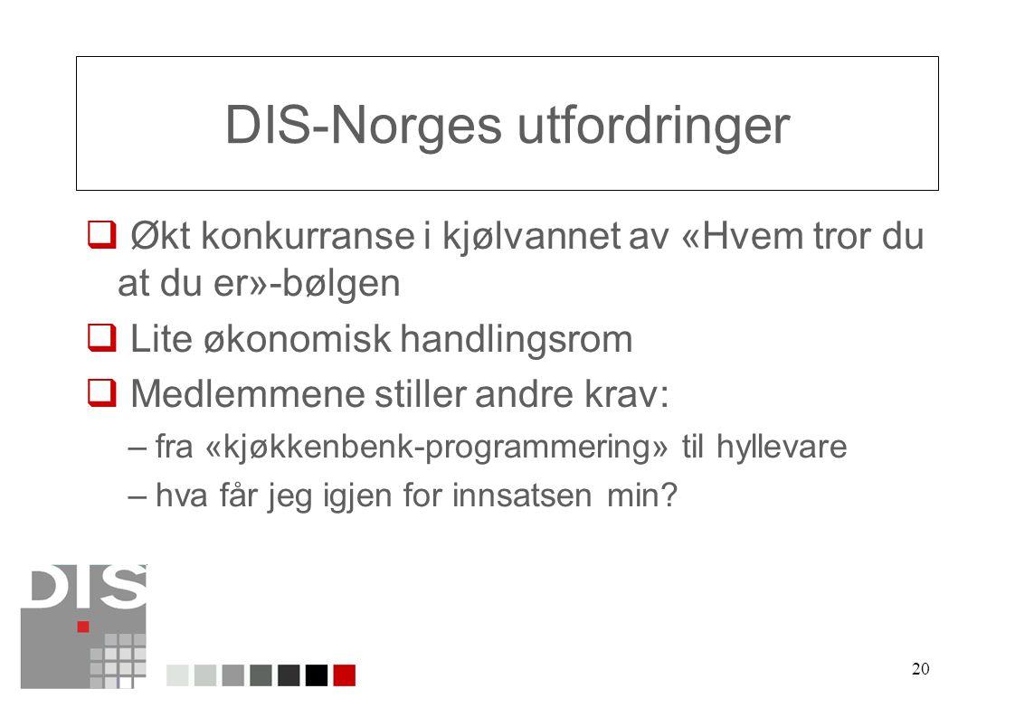 20 DIS-Norges utfordringer  Økt konkurranse i kjølvannet av «Hvem tror du at du er»-bølgen  Lite økonomisk handlingsrom  Medlemmene stiller andre krav: –fra «kjøkkenbenk-programmering» til hyllevare –hva får jeg igjen for innsatsen min
