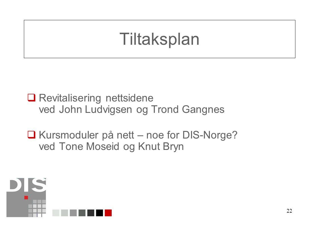22 Tiltaksplan  Revitalisering nettsidene ved John Ludvigsen og Trond Gangnes  Kursmoduler på nett – noe for DIS-Norge.