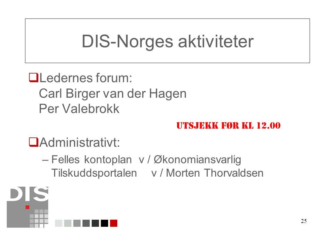 25 DIS-Norges aktiviteter  Ledernes forum: Carl Birger van der Hagen Per Valebrokk  Administrativt: –Felles kontoplan v / Økonomiansvarlig Tilskuddsportalen v / Morten Thorvaldsen UTSJEKK FØR KL 12.00