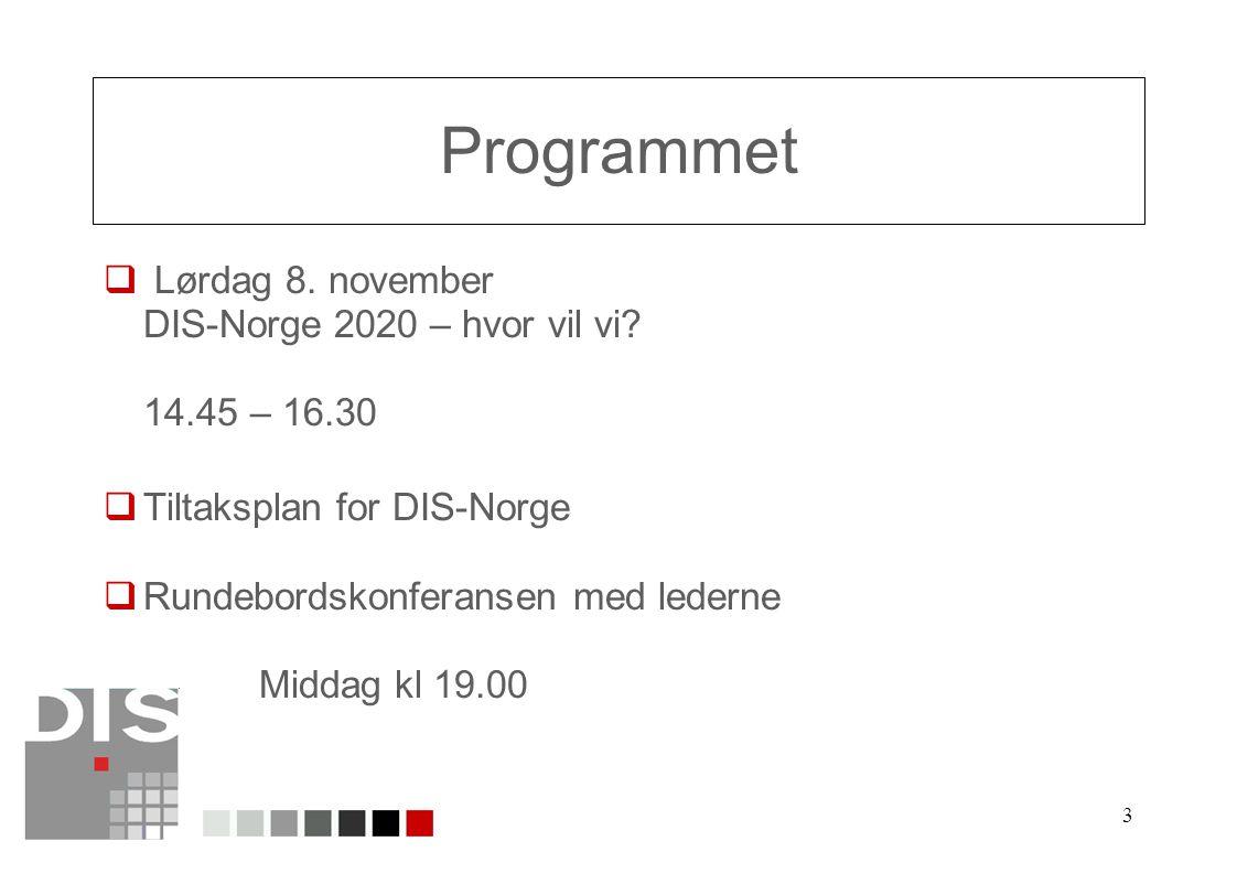 3 Programmet  Lørdag 8. november DIS-Norge 2020 – hvor vil vi.