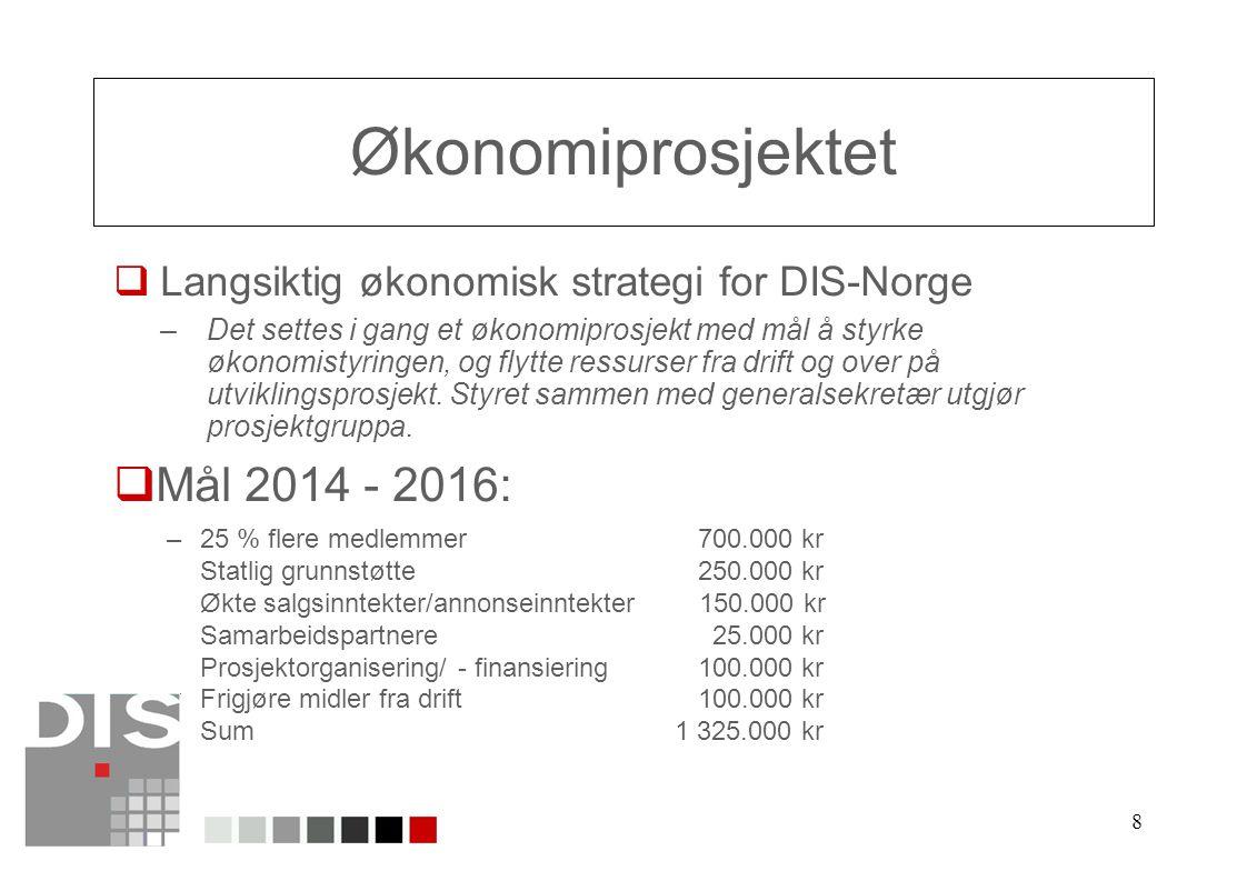 8 Økonomiprosjektet  Langsiktig økonomisk strategi for DIS-Norge –Det settes i gang et økonomiprosjekt med mål å styrke økonomistyringen, og flytte ressurser fra drift og over på utviklingsprosjekt.