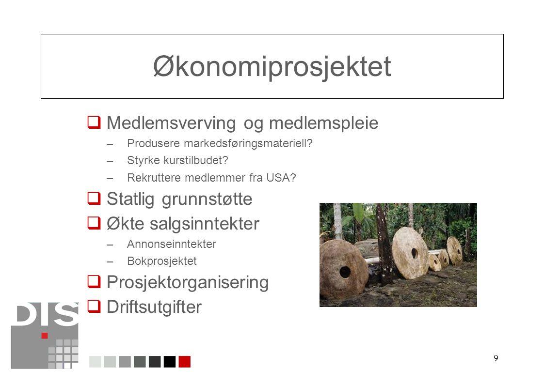 9 Økonomiprosjektet  Medlemsverving og medlemspleie –Produsere markedsføringsmateriell.