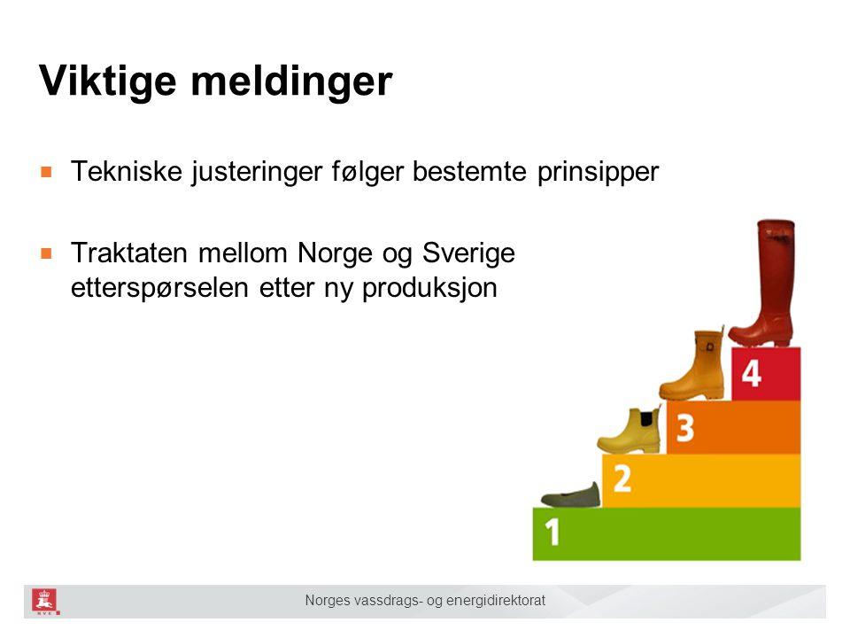Norges vassdrags- og energidirektorat Viktige meldinger ■ Tekniske justeringer følger bestemte prinsipper ■ Traktaten mellom Norge og Sverige fastsett