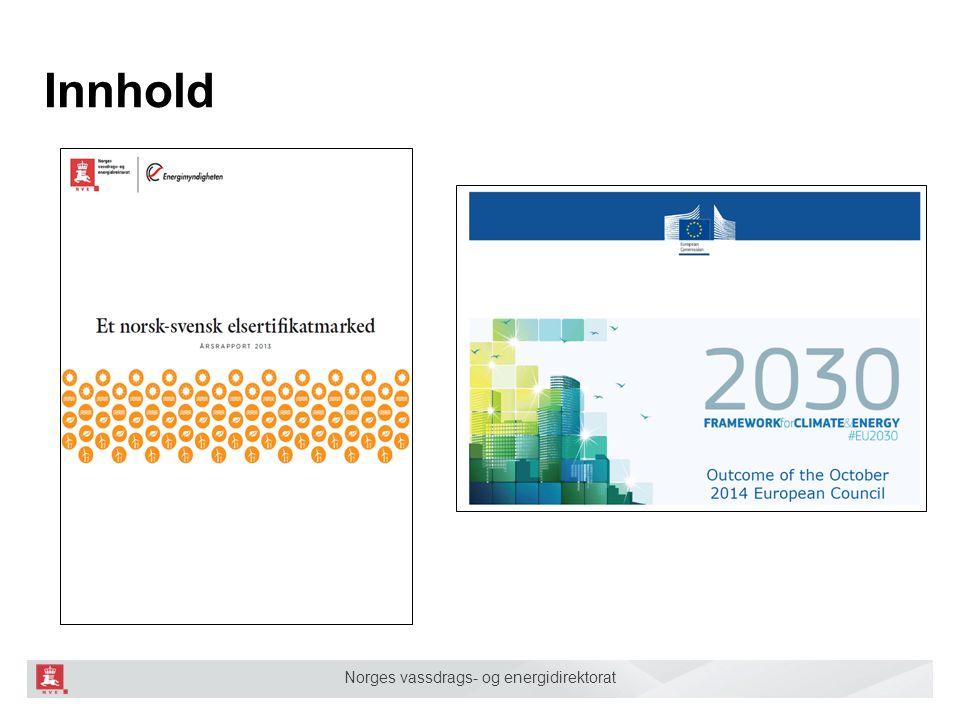 Norges vassdrags- og energidirektorat EUs nye 2030-mål ■ Et utslippsmål på minst 40 prosent kutt ■ Et styrket kvotehandelssystem (ETS) som det sentrale klimavirkemiddelet på EU-nivå ■ Et fornybarmål på minst 27 prosent på EU-nivå ■ Et veiledende mål for energieffektivisering på minst 27 prosent på EU-nivå