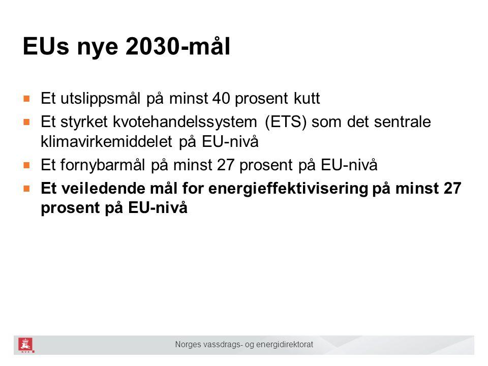 Norges vassdrags- og energidirektorat EUs nye 2030-mål ■ Et utslippsmål på minst 40 prosent kutt ■ Et styrket kvotehandelssystem (ETS) som det sentral