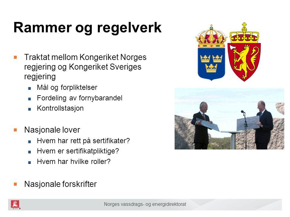 Norges vassdrags- og energidirektorat Rammer og regelverk ■ Traktat mellom Kongeriket Norges regjering og Kongeriket Sveriges regjering ■ Mål og forpl