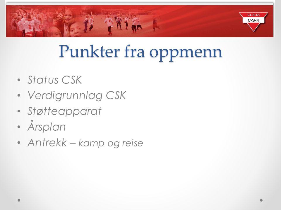 Punkter fra oppmenn Status CSK Verdigrunnlag CSK Støtteapparat Årsplan Antrekk – kamp og reise
