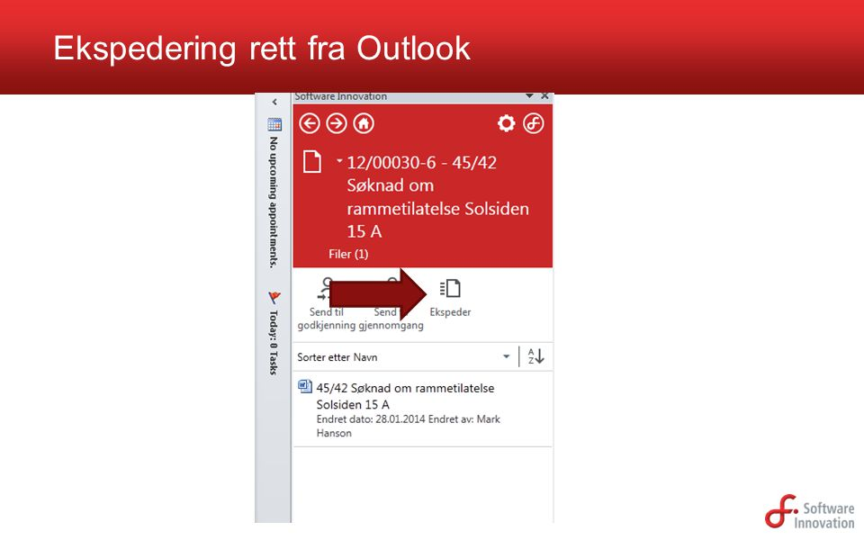 Ekspedering rett fra Outlook