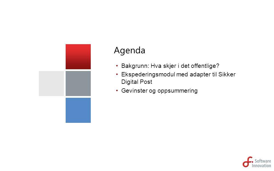 Bakgrunn: Hva skjer i det offentlige? Ekspederingsmodul med adapter til Sikker Digital Post Gevinster og oppsummering Agenda
