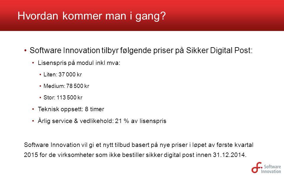 Software Innovation tilbyr følgende priser på Sikker Digital Post: Lisenspris på modul inkl mva: Liten: 37 000 kr Medium: 78 500 kr Stor: 113 500 kr T
