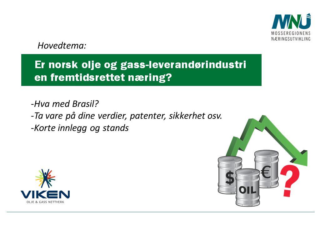 Hovedtema: -Hva med Brasil? -Ta vare på dine verdier, patenter, sikkerhet osv. -Korte innlegg og stands