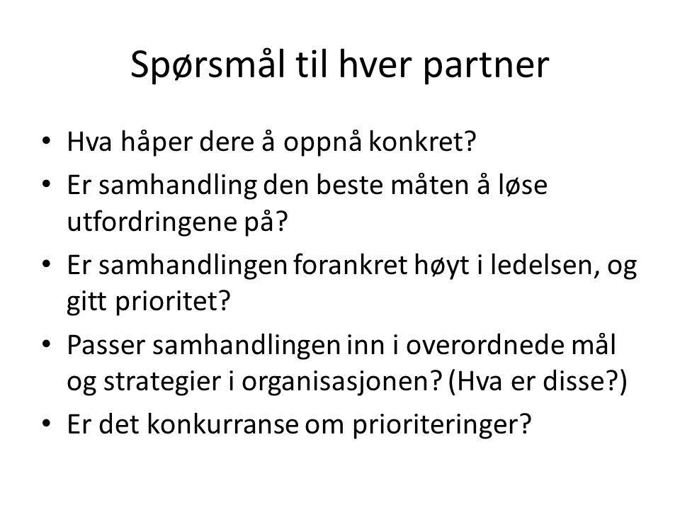 Spørsmål til hver partner Hva håper dere å oppnå konkret.