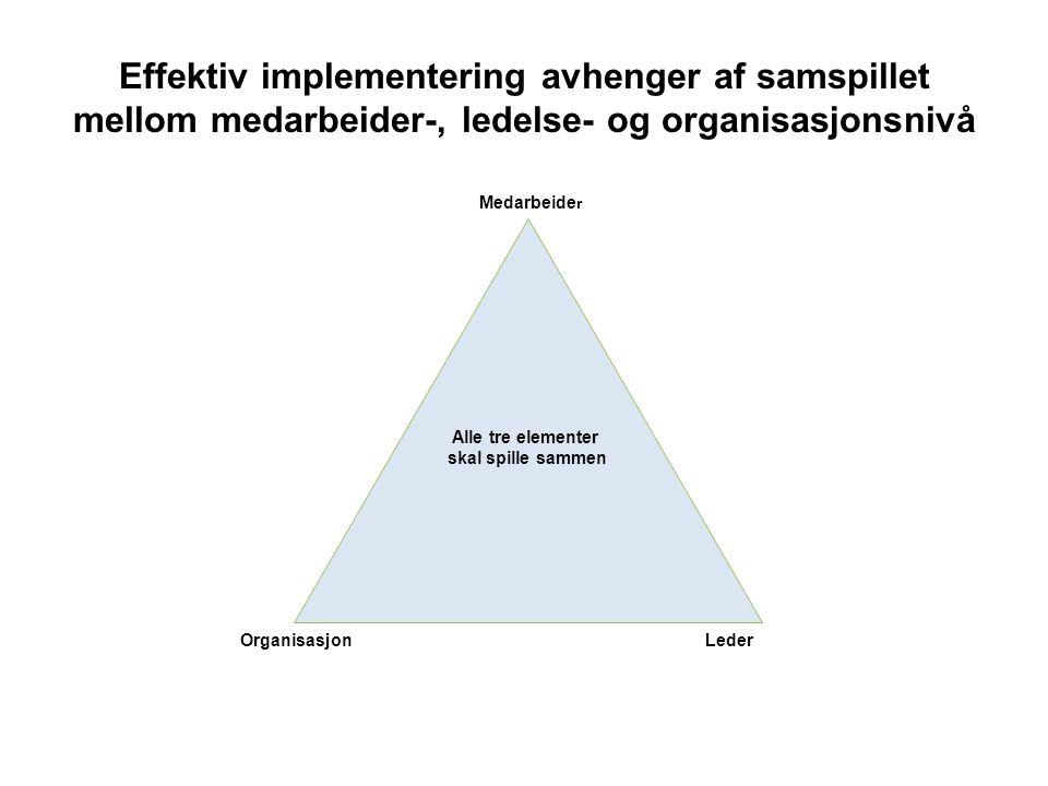 Effektiv implementering avhenger af samspillet mellom medarbeider-, ledelse- og organisasjonsnivå Alle tre elementer skal spille sammen Medarbeide r LederOrganisasjon
