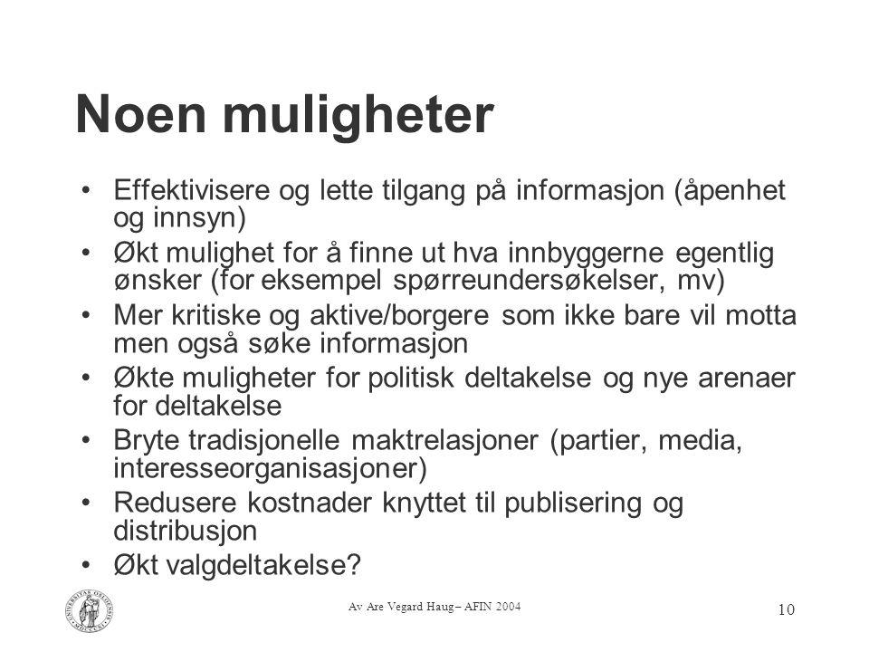 Av Are Vegard Haug – AFIN 2004 10 Noen muligheter Effektivisere og lette tilgang på informasjon (åpenhet og innsyn) Økt mulighet for å finne ut hva in