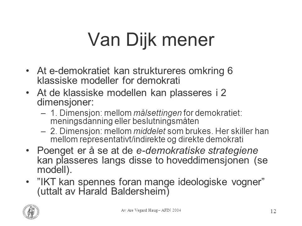 Av Are Vegard Haug – AFIN 2004 12 Van Dijk mener At e-demokratiet kan struktureres omkring 6 klassiske modeller for demokrati At de klassiske modellen