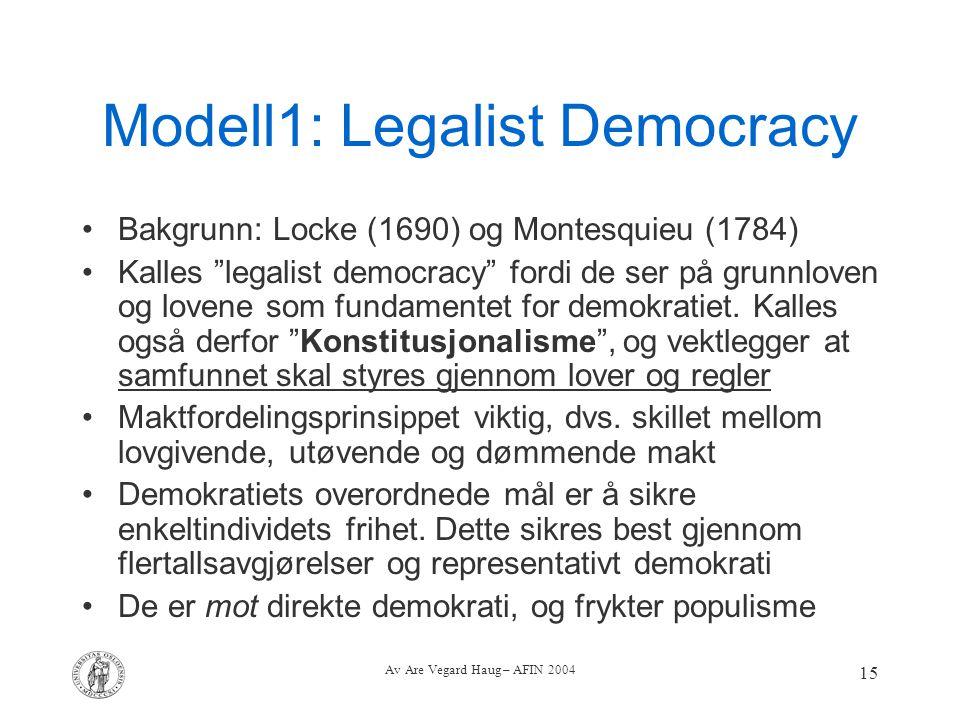 """Av Are Vegard Haug – AFIN 2004 15 Modell1: Legalist Democracy Bakgrunn: Locke (1690) og Montesquieu (1784) Kalles """"legalist democracy"""" fordi de ser på"""