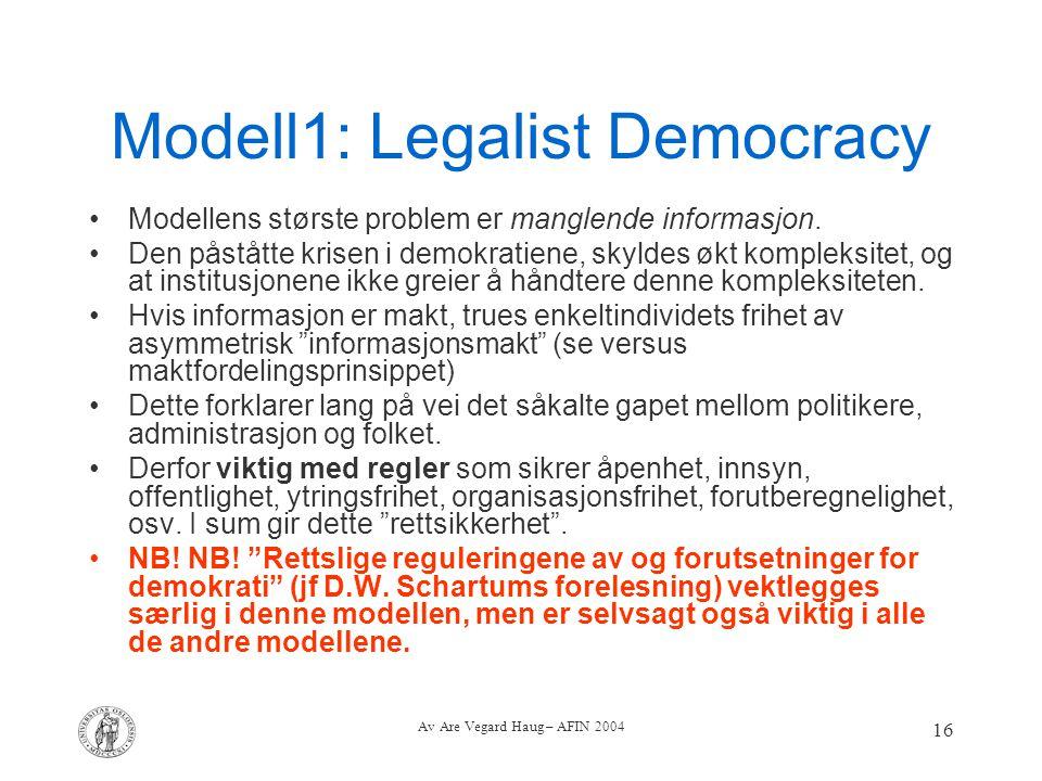 Av Are Vegard Haug – AFIN 2004 16 Modell1: Legalist Democracy Modellens største problem er manglende informasjon. Den påståtte krisen i demokratiene,