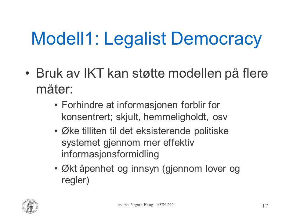 Av Are Vegard Haug – AFIN 2004 17 Modell1: Legalist Democracy Bruk av IKT kan støtte modellen på flere måter: Forhindre at informasjonen forblir for k
