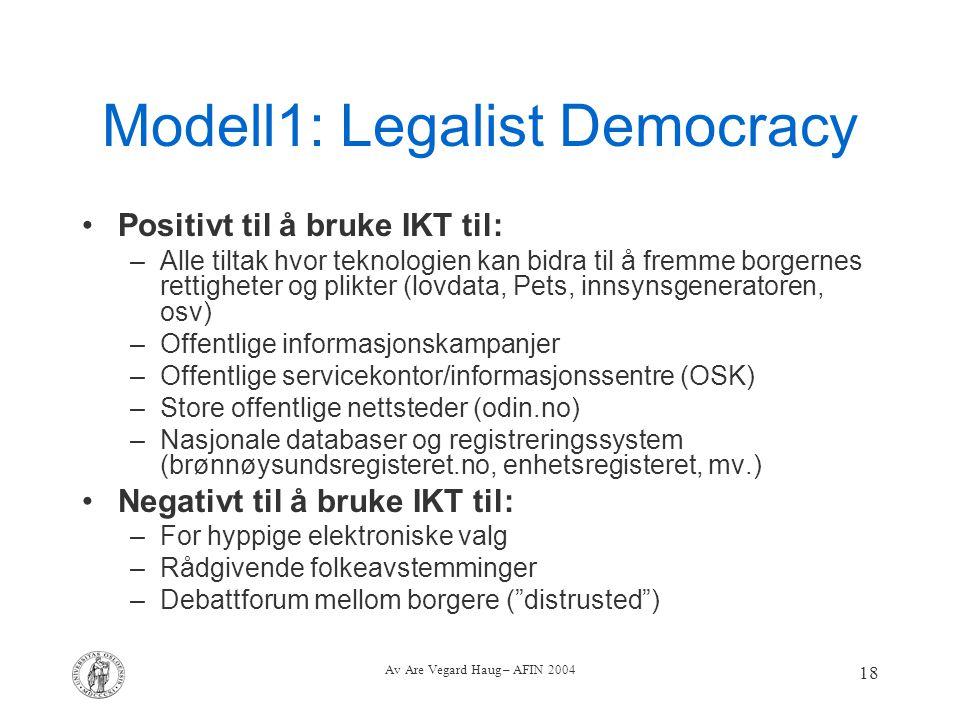 Av Are Vegard Haug – AFIN 2004 18 Modell1: Legalist Democracy Positivt til å bruke IKT til: –Alle tiltak hvor teknologien kan bidra til å fremme borge