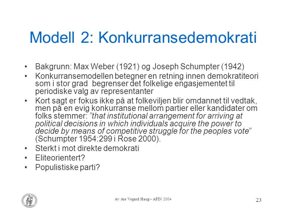 Av Are Vegard Haug – AFIN 2004 23 Modell 2: Konkurransedemokrati Bakgrunn: Max Weber (1921) og Joseph Schumpter (1942) Konkurransemodellen betegner en