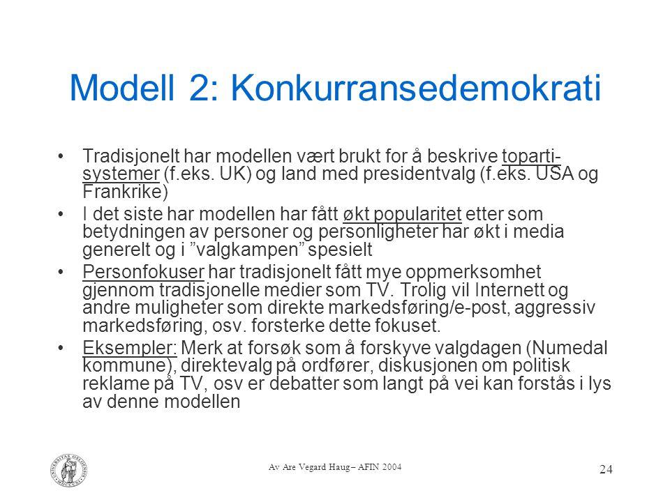 Av Are Vegard Haug – AFIN 2004 24 Modell 2: Konkurransedemokrati Tradisjonelt har modellen vært brukt for å beskrive toparti- systemer (f.eks. UK) og